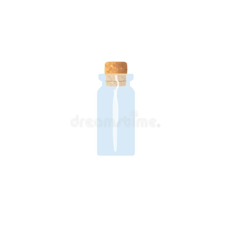 Olie lege fiool met cork, tranparent ijzig-wit flesje, geurfles, geneeskundefles, kruik Voor drugs, pillen royalty-vrije illustratie