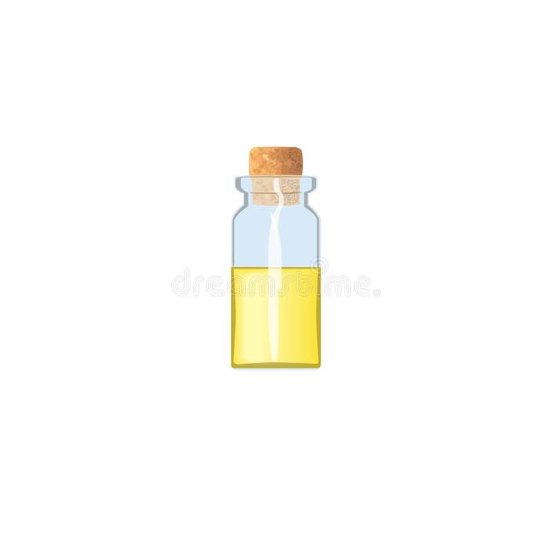 Olie lege fiool met gele vloeistof en cork, tranparent ijzig-wit flesje, geurfles, geneeskundefles stock illustratie