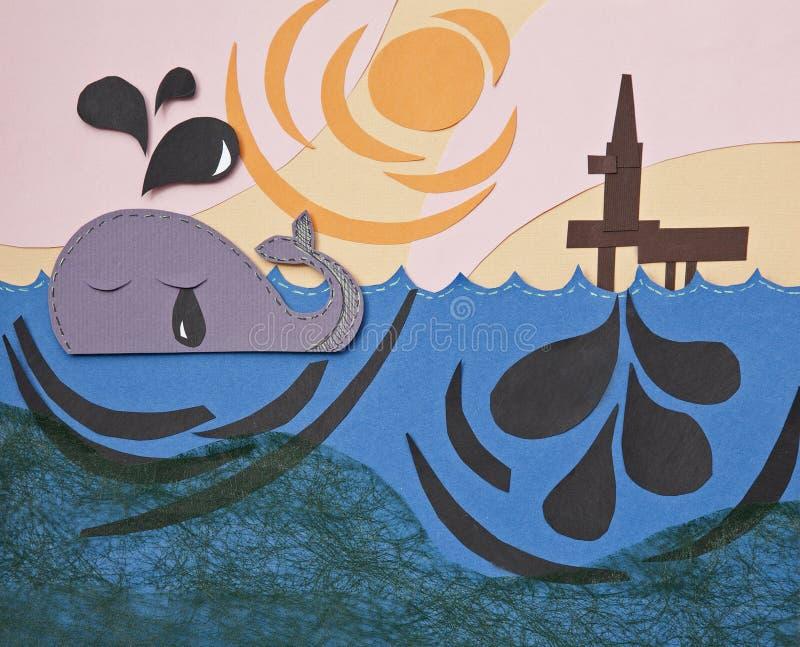 Olie in oceaan vector illustratie