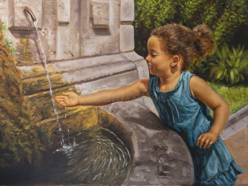 Olie op canvas van een klein meisje dichtbij een fontein vector illustratie