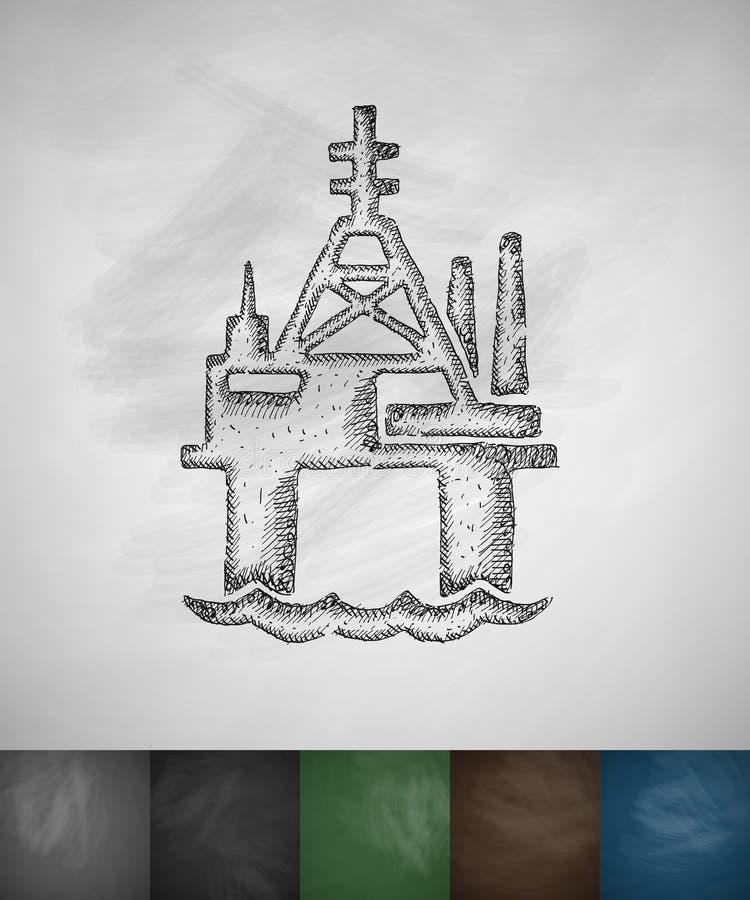 Olieboortoren in overzees pictogram royalty-vrije illustratie