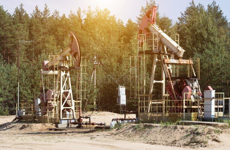 Oliebron voor de productie van olie en benzine en gas op de achtergrond van het bos, de productie van benzine, pumpjack stock foto's