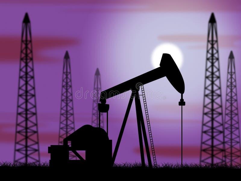Oliebronnenmiddelen Krachtbron en het Boren royalty-vrije illustratie