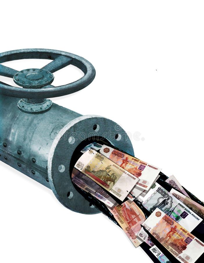 Olieopbrengsten Fragment van een metaalpijp met een klep De stroom van lekke olie met document nota's van de Roebels van Rusland  royalty-vrije stock afbeeldingen