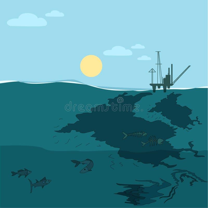 Olieplatform in de oceaan Neem nota van het groene water vector illustratie