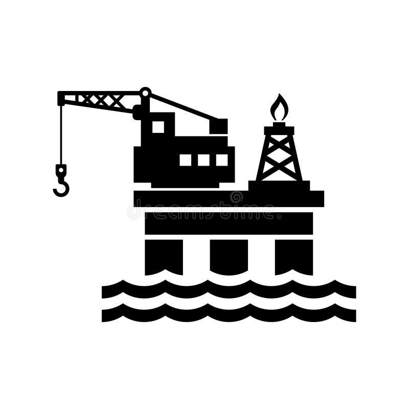 Olieplatform voor Embleem en Pictogram Vector royalty-vrije illustratie