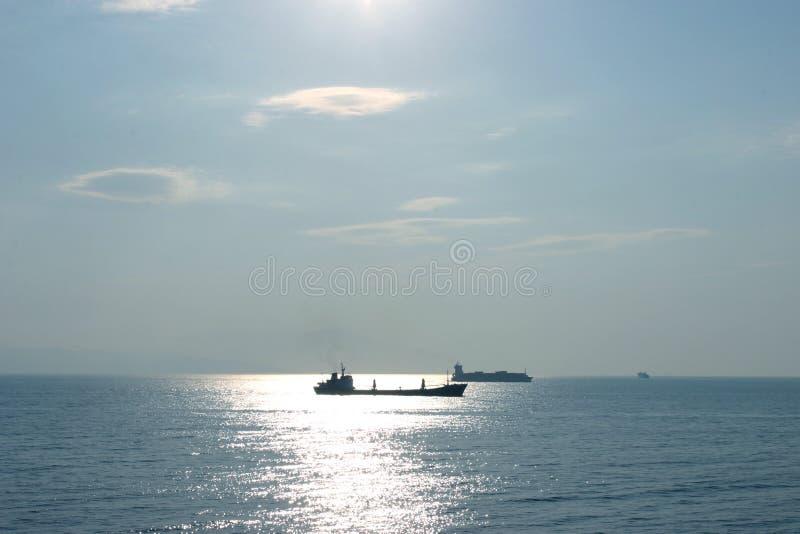 Olietanker en containercarrier royalty-vrije stock foto