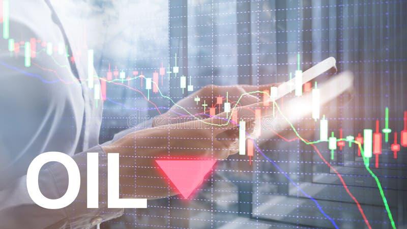 Olietendens neer De grafiekolievaten van de kaarsgrafiek en een financi?le grafiek op abstracte bedrijfsachtergrond prijsolie nee royalty-vrije stock afbeeldingen