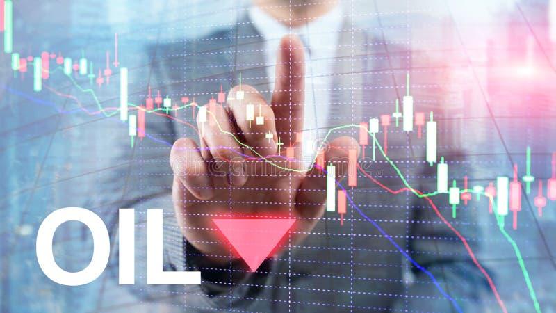 Olietendens neer De grafiekolievaten van de kaarsgrafiek en een financi?le grafiek op abstracte bedrijfsachtergrond prijsolie nee royalty-vrije stock foto's