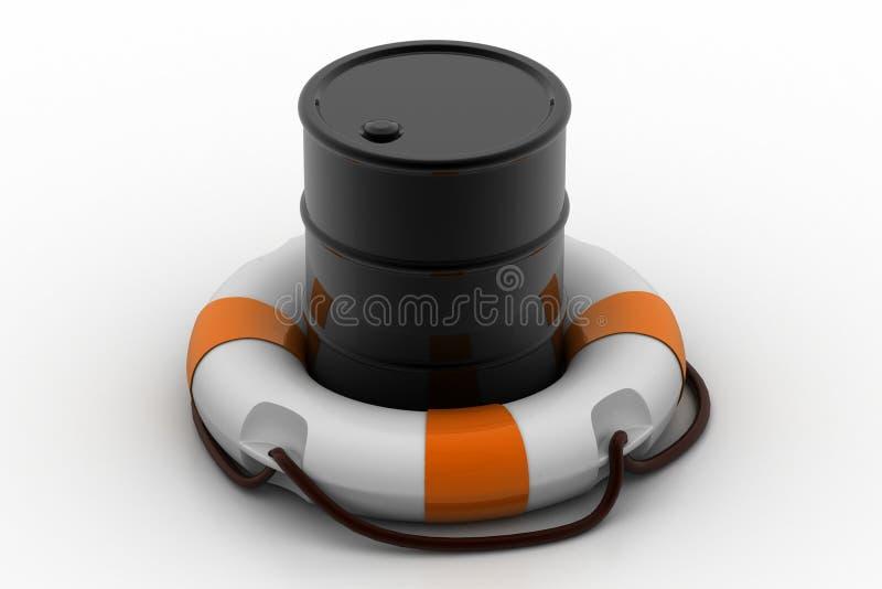 Olievat met reddingsboei stock illustratie