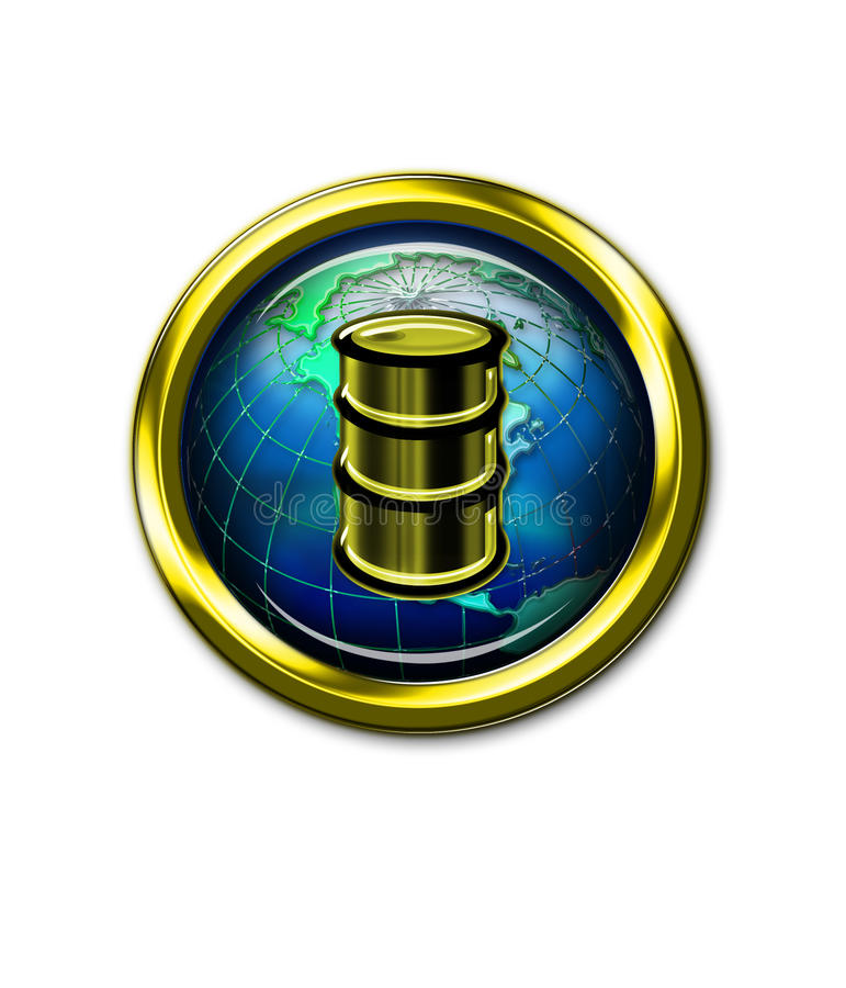 Olievat op het Pictogram van de Bol van de Wereld vector illustratie