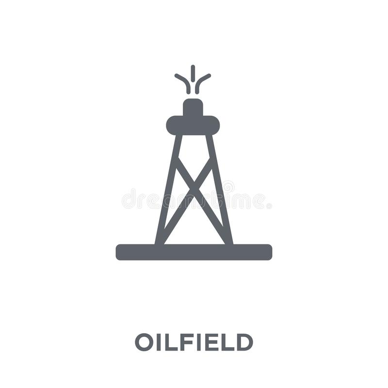 Olieveldpictogram van inzameling stock illustratie