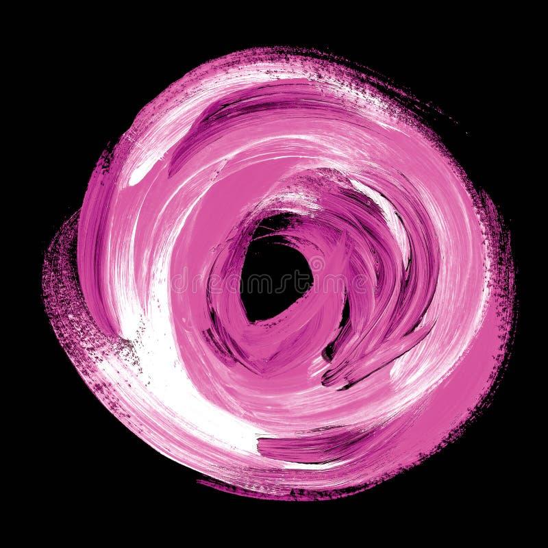 Olieverf abstracte roze werveling acrylborstelslag stock illustratie