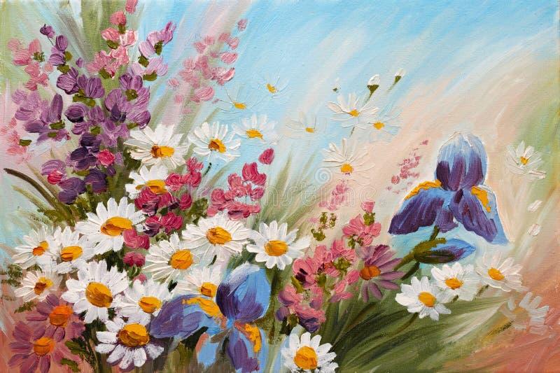 Olieverfschilderij - abstracte illustratie van bloemen, madeliefjes, greens vector illustratie