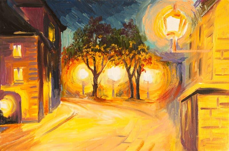 Olieverfschilderij - avondstraat in Parijs stock illustratie