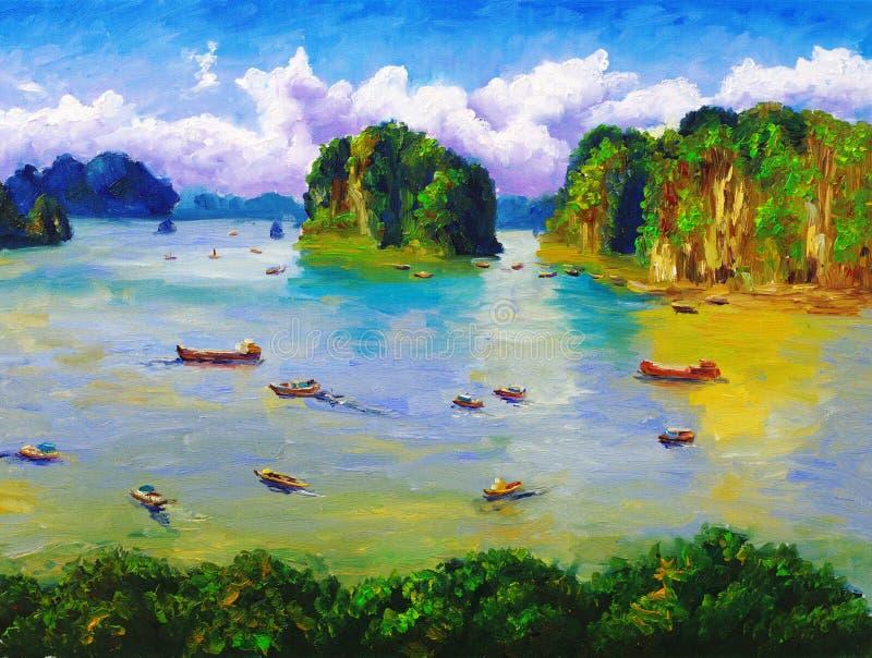Olieverfschilderij - Baai, Thailand royalty-vrije illustratie