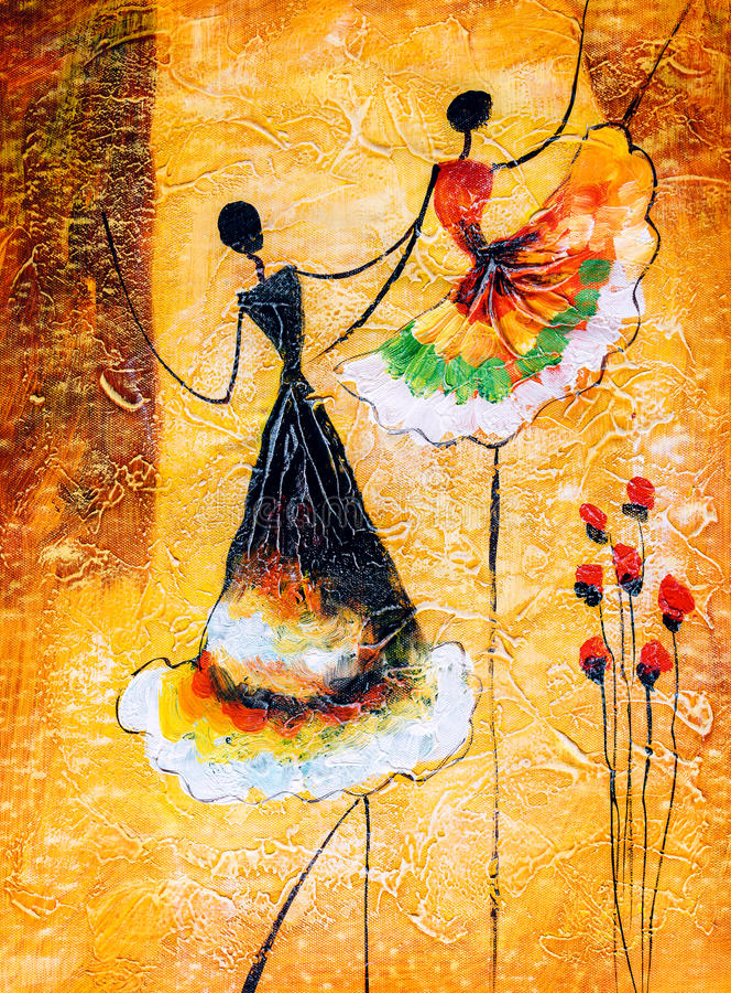 Olieverfschilderij - Ballet het Dansen stock illustratie