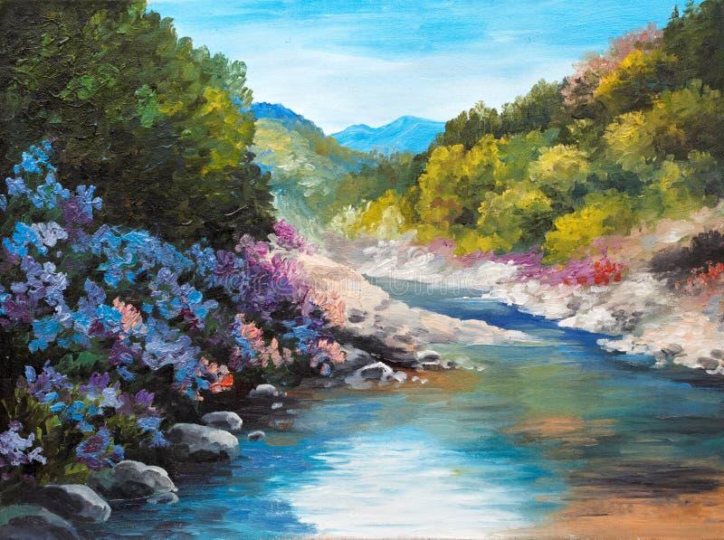 Olieverfschilderij - bergrivier, bloemen dichtbij de rotsen vector illustratie
