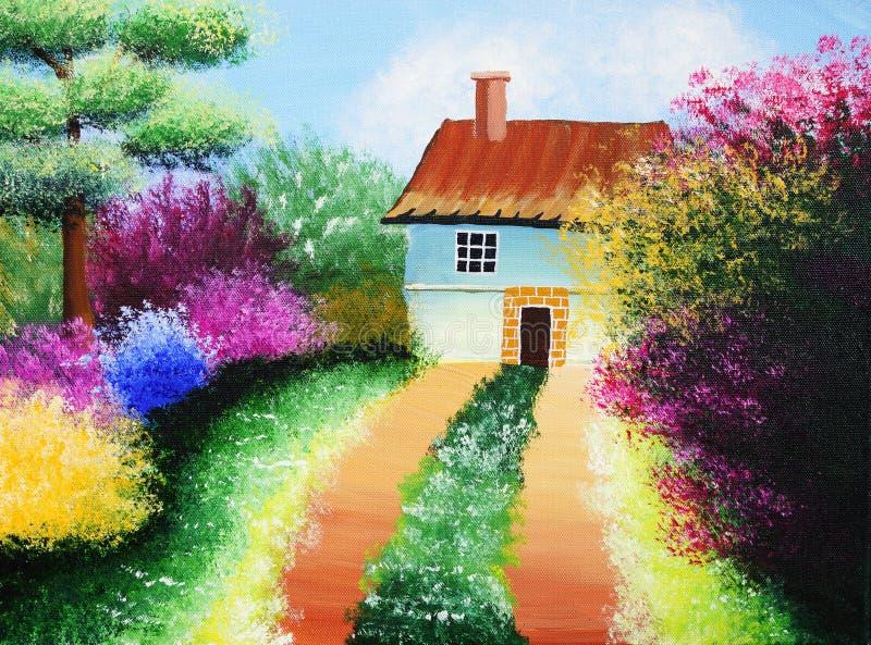 Olieverfschilderij - Binnenplaats royalty-vrije illustratie