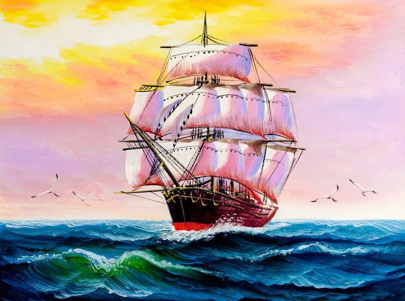 Olieverfschilderij - Boot stock illustratie