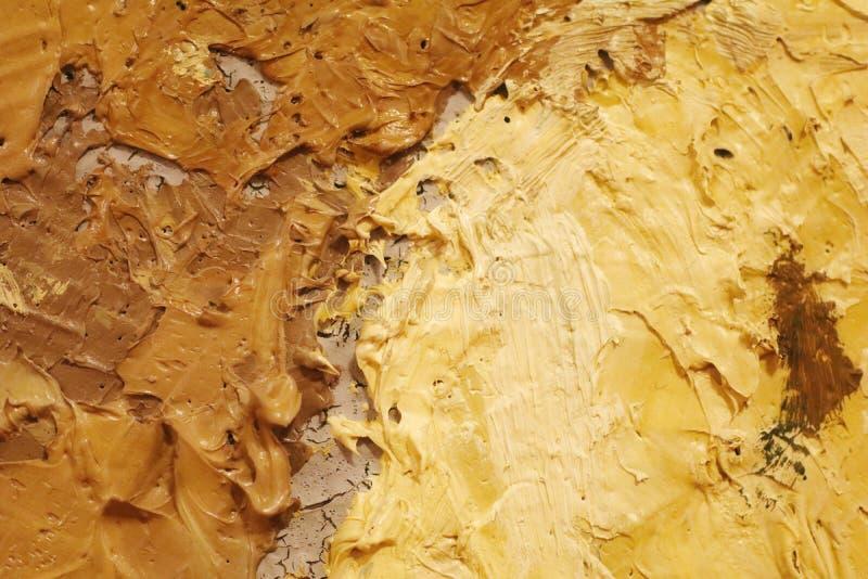 Olieverfschilderij dichte omhooggaande textuur met borstelslagen stock foto's