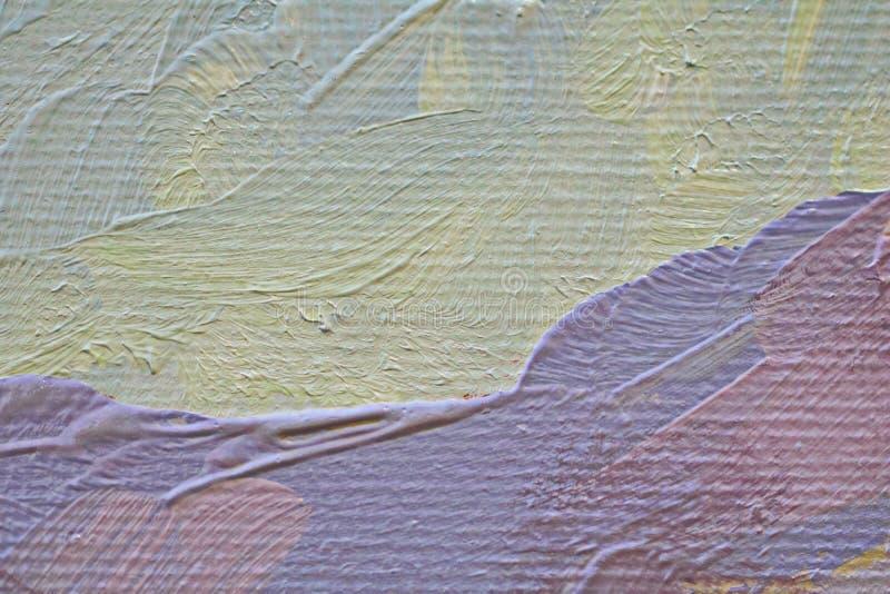 Olieverfschilderij dichte omhooggaande textuur met borstelslagen stock fotografie