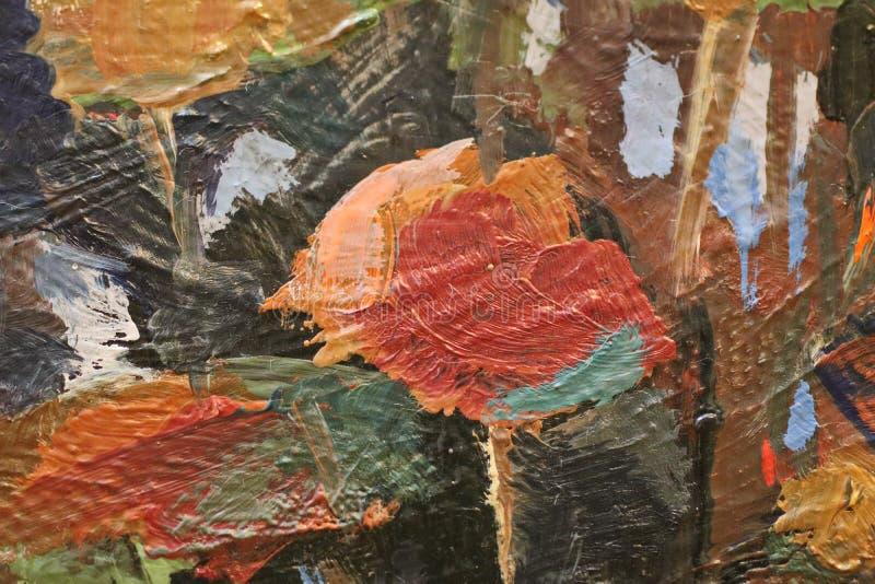 Olieverfschilderij dichte omhooggaande textuur met borstelslagen royalty-vrije stock foto's