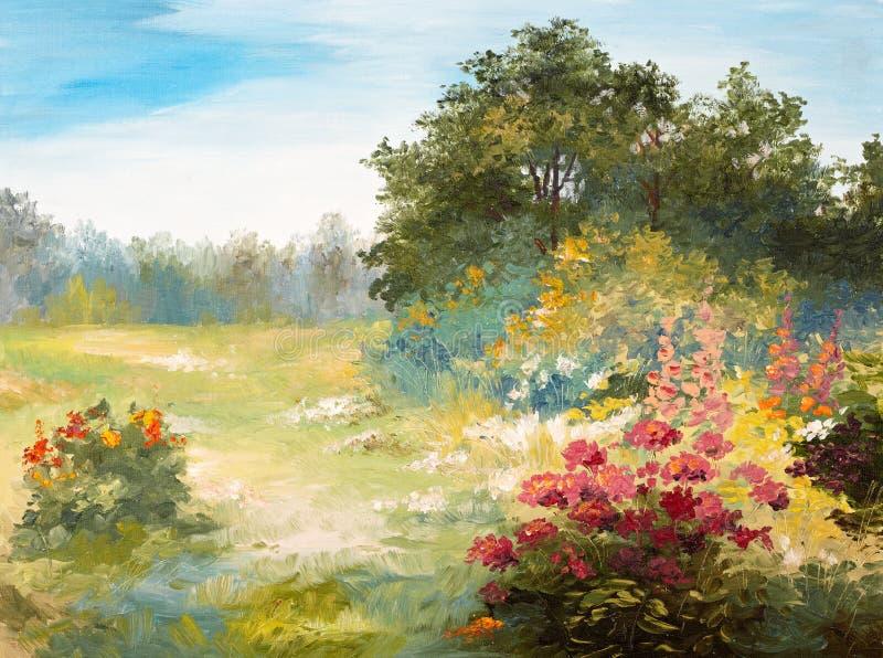Olieverfschilderij - gebied met bloemen en bos royalty-vrije illustratie