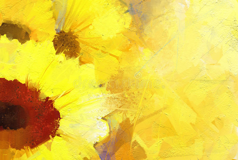 Olieverfschilderij gouden zonnebloem royalty-vrije illustratie