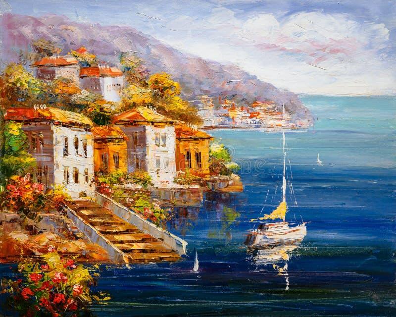 Olieverfschilderij - Havenmening, Griekenland stock illustratie