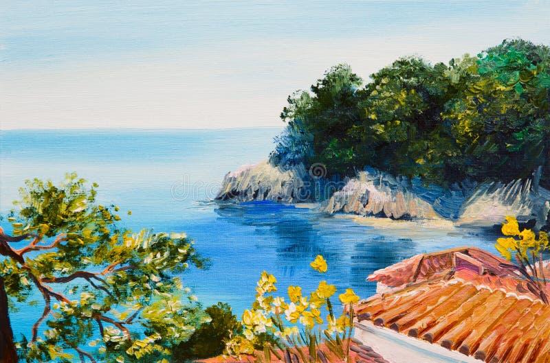 Olieverfschilderij - huis dichtbij het overzees royalty-vrije illustratie