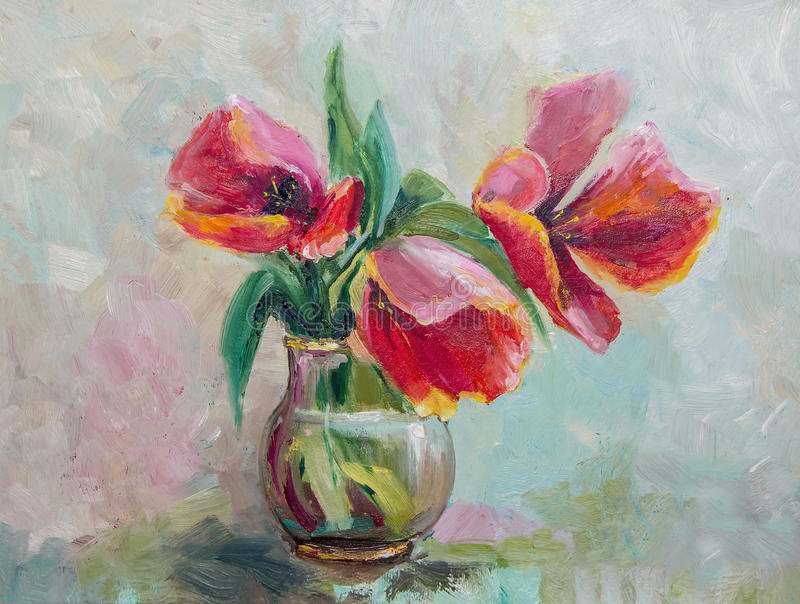 Olieverfschilderij, Impressionismestijl, textuur het schilderen, bloem stil royalty-vrije illustratie