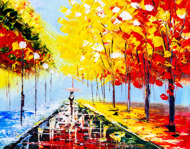 Olieverfschilderij - Kleurrijke Regenachtige Nacht vector illustratie