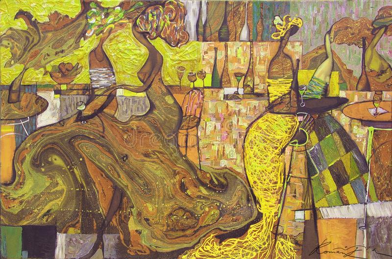 Olieverfschilderij, kunstenaar Roman Nogin, de bespreking van reeks` Vrouwen ` stock fotografie