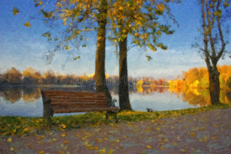 Olieverfschilderij met de herfstmeer stock foto's