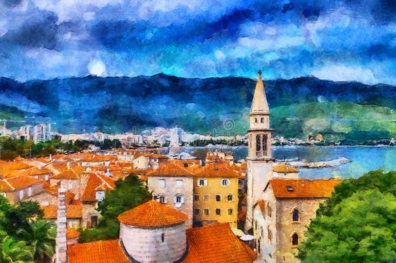 Olieverfschilderij mooie overzeese meningen in de kuststad vector illustratie