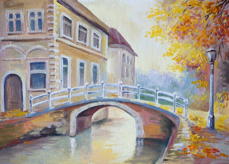 Olieverfschilderij op canvas - brug over de rivier in oud Europa royalty-vrije illustratie