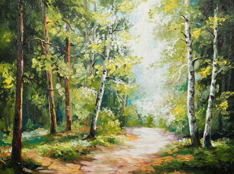 Olieverfschilderij op canvas - de zomerbos stock illustratie