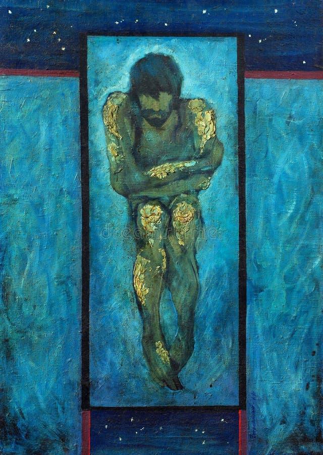 Olieverfschilderij op canvas, eenzame mens, melancholie royalty-vrije illustratie