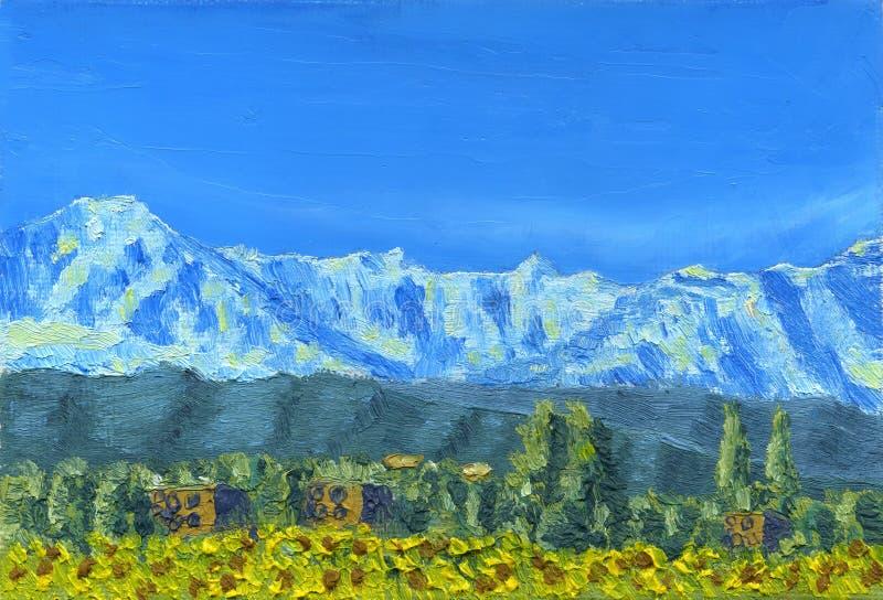 Olieverfschilderij op canvas Sneeuwbergketen stock illustratie