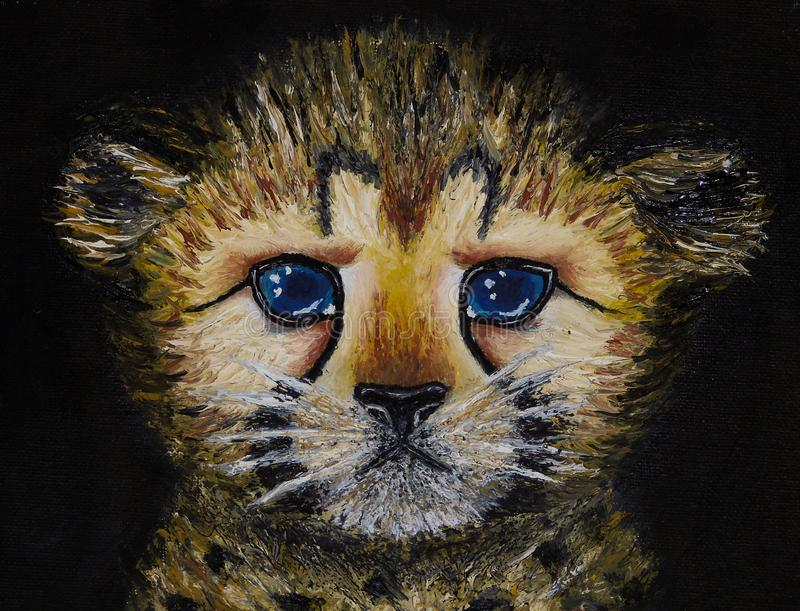 Olieverfschilderij op canvas van close-up van pasgeboren die jachtluipaardwelp op zwarte achtergrond wordt geïsoleerd royalty-vrije stock afbeelding
