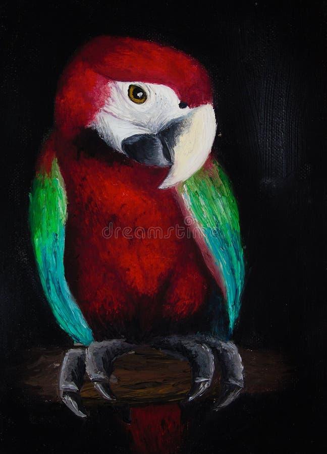 Olieverfschilderij op canvas van een gekleurde papegaai op een boomboomstam, rode die vogel op zwarte achtergrond wordt geïsoleer