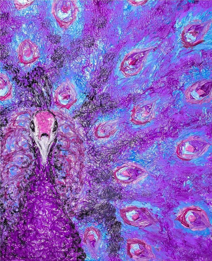 Olieverfschilderij op canvas van portret van een gekleurde pauw