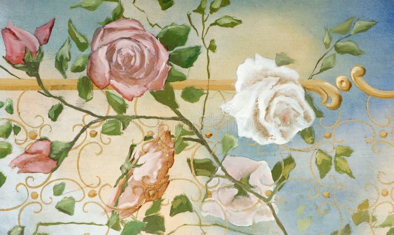 Olieverfschilderij in oude stijl royalty-vrije stock afbeelding