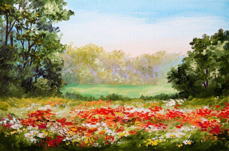 Olieverfschilderij - papavergebied royalty-vrije illustratie