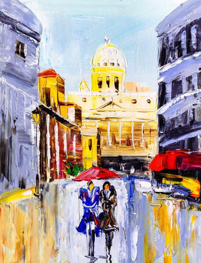 Olieverfschilderij - Stadsmening van Italië stock illustratie