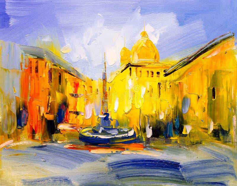Olieverfschilderij - Stadsmening van Praag royalty-vrije illustratie