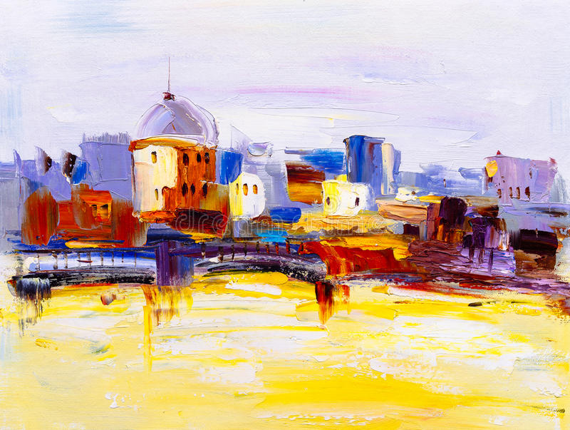 Olieverfschilderij - Stadsmening van Praag stock illustratie