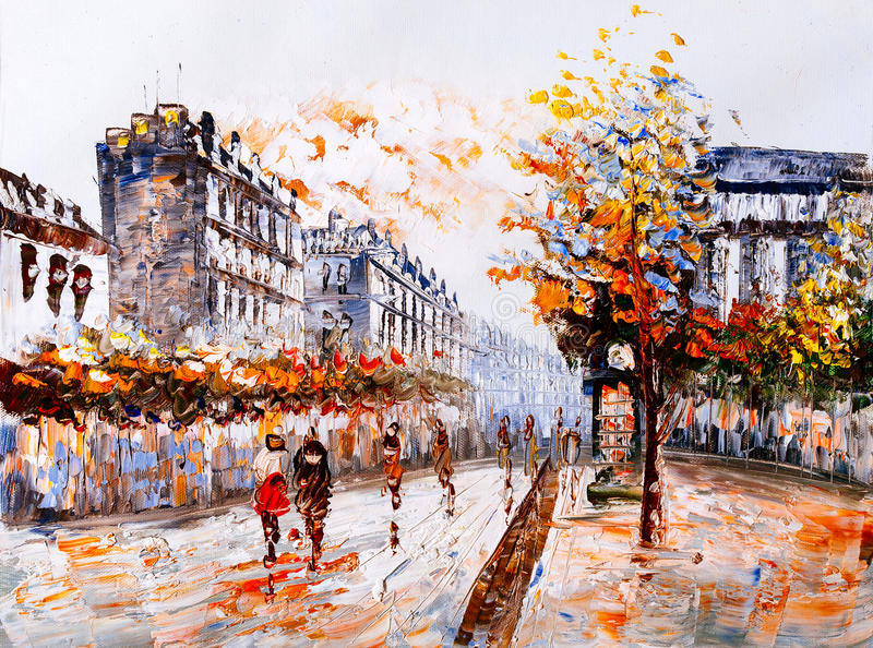 Olieverfschilderij - Straatmening van Parijs vector illustratie
