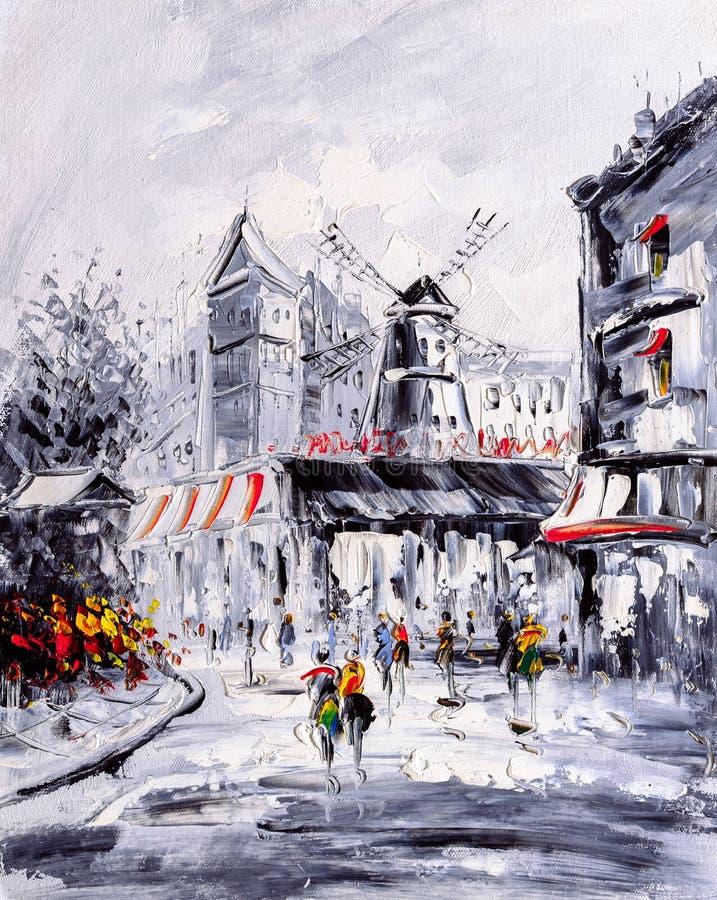 Olieverfschilderij - Straatmening van Parijs